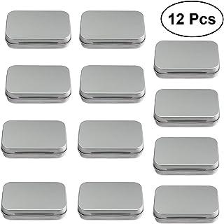 ROSENICE 12Pcs Silver Hinged Storage Tins Mini Rectangular Empty Metal Box for DIY Use Home Organizer (Silver)