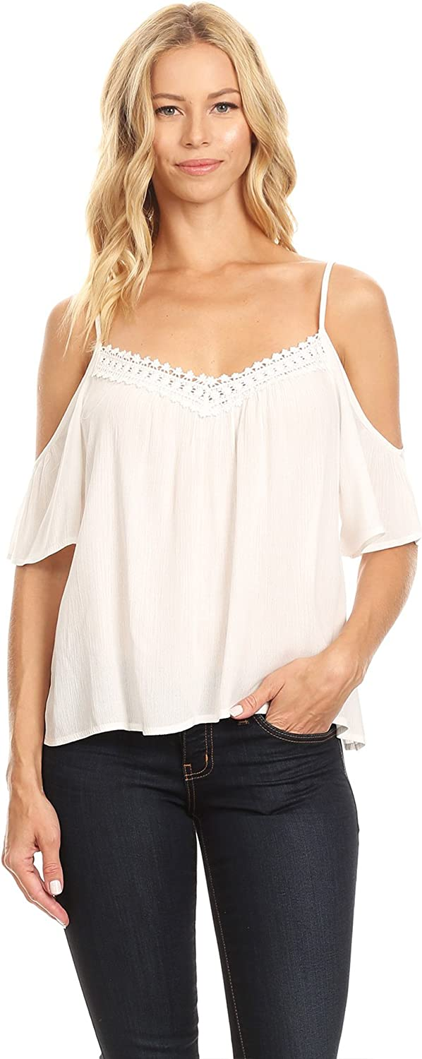 Made by Johnny Womens Cold Shoulder Top with Lace Detail