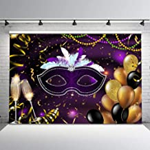 Mehofoto Retro Masquerade Backdrop Purple and Silver Mask Photo Background 7x5ft Gold Balloons Champagne Glass Glitter Confetti Photo Backdrops for Party Studio Props