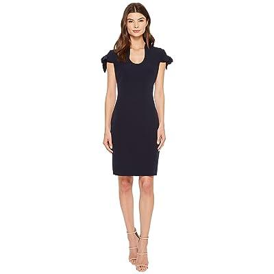 Badgley Mischka Tie Sleeve U-Neck Butter Crepe Dress (Navy) Women