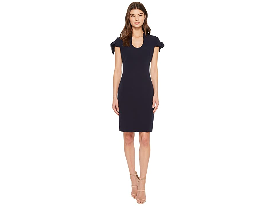 Badgley Mischka Tie Sleeve U-Neck Butter Crepe Dress (Navy) Women