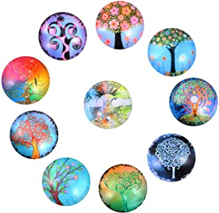 SUPVOX 10pcs Mixed Mosaic Tiles Life Tree Pattern Glass Mosaic Tiles for DIY Crafts Jewelry Making Glass Mosaic Supplies 12mm