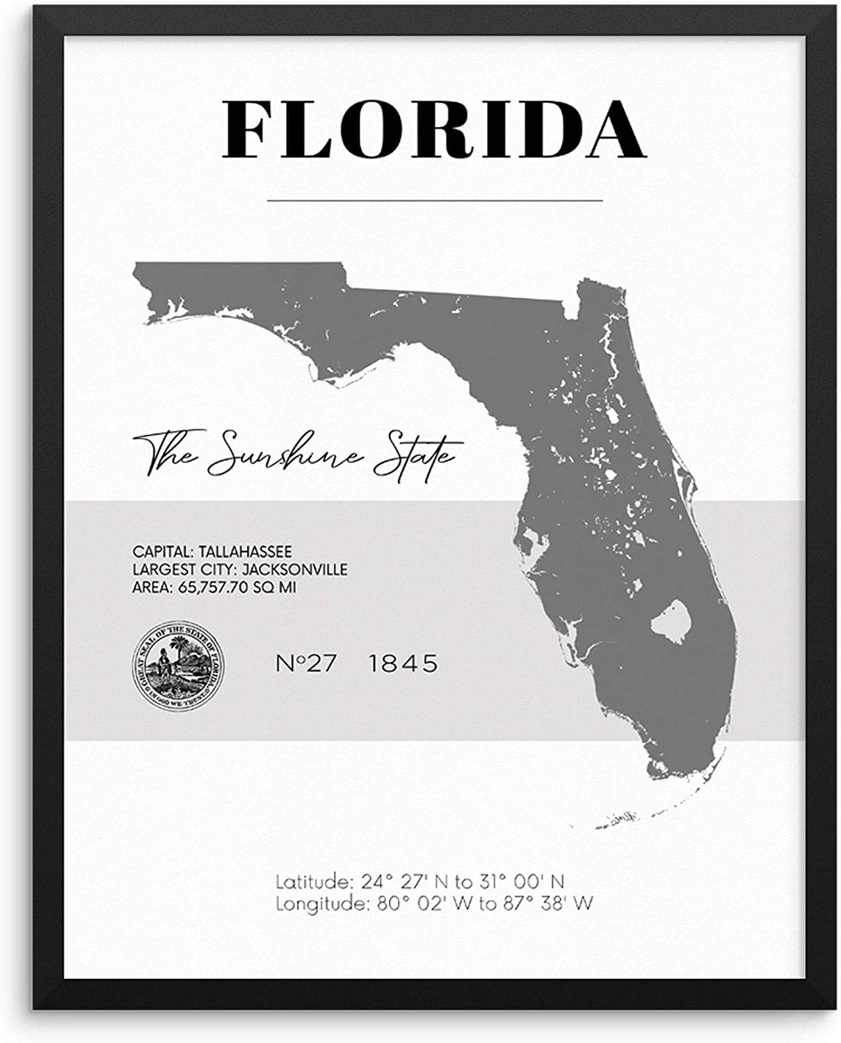 Florida State Map Poster With Demographics Minimalist Home Decor Travel Art  Print 20x20 UNFRAMED Trendy Artwork for Bedroom Living Room Entryway ...