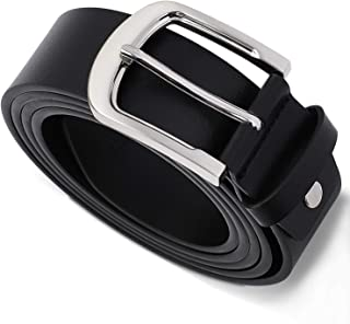 Mens Leather Belt Men 38mm Wide Dress Smart Casual Jeans Black Belt Buckle
