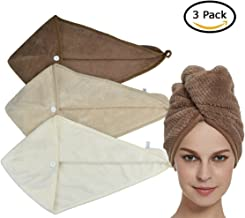 HOPESHINE Hair Drying Towels Wrap Twist Microfiber Women's Soft Shower Hair Turban Wrap Towel Drying Cap Great Gift for Women and Girls (3-Pack,Brown+Khaki+Off White)