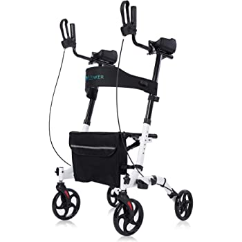 ELENKER Upright Walker, Stand Up Folding Rollator Walker Back Erect Rolling Mobility Walking Aid with Seat, Padded Armrests for Seniors and Adults, White