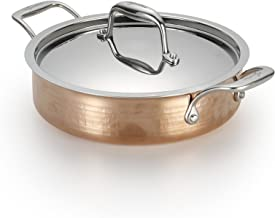 Lagostina Q5544464 Martellata Tri-ply Hammered Stainless Steel Copper Dishwasher Safe Oven Safe Stockpot / Casserolle Cook...