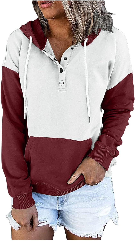 Hoodies for Women,Womens Drawstring Fashion Hoodies Pullover Casual Pocket Tops Button Down Long Sleeve Sweatshirts