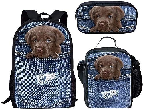 la mejor oferta de tienda online RJHC RJHC RJHC azul Denim Cat School Bag Set,3D Cat Dog Pet School Bag 3Pcs Set con Estuche De Lápices Y Paquete De Almuerzo,Conjunto De 3 Piezas  a precios asequibles