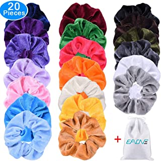 EAONE 20 Pack Hair Scrunchies Velvet Elastics Hair Ties Bright Colorful Scrunchy Bobbles Bands, 20 Colors