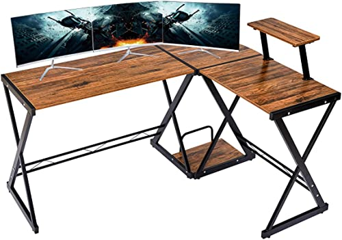 """GreenForest L Shaped Desk 64"""" Reversible Corner Computer Desk with Movable Shelf and CPU Stand, Gaming Desk with Stur..."""