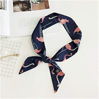1pc Women Vintage Long Ribbon Scarf Flamingo Bird Print Neckerchief Neck Hair Handkerchief Headband Bandana Tied 90cm (Col...