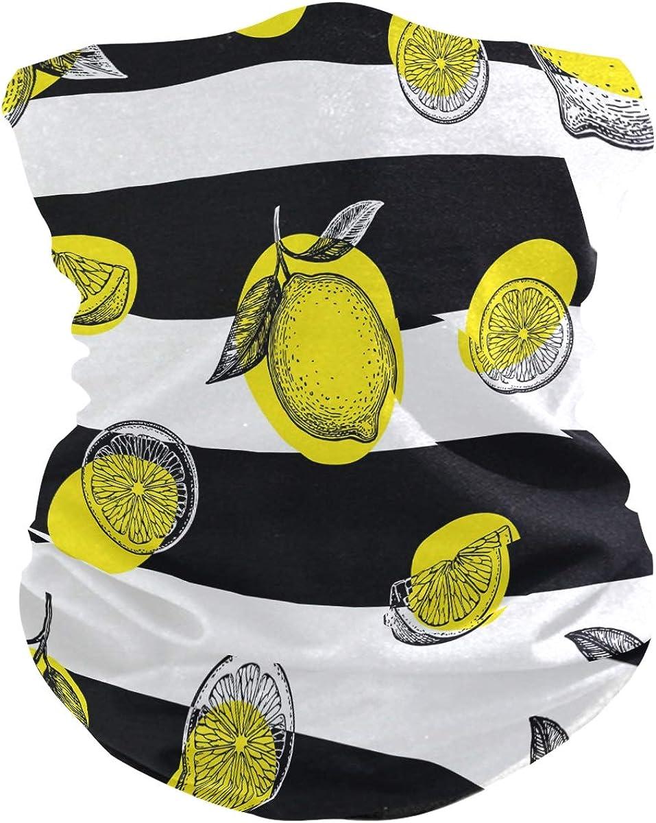 Bandana Face Scarf Neck Gaiter Pattern With Lemons Headwear Headband for Cycling Fishing Hiking Camping