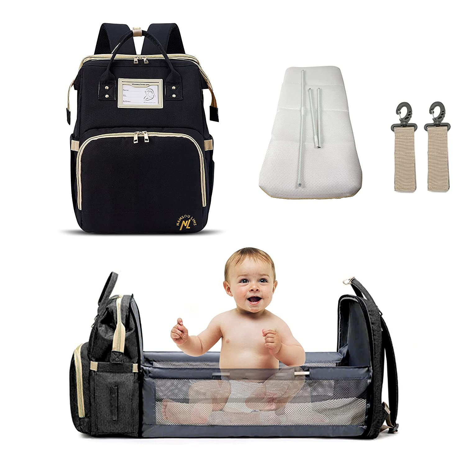 namsou lims Diaper Backpack with Changing Station Black 16.9