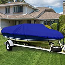 UXUNBlue Waterproof Boat Cover Heavy Duty 420D Marine Grade Polyester Canvas Trailerable Fits V-Hull,Tri-Hull, Runabout Boat Cover