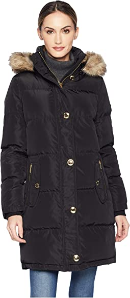 Button Front Down Coat with Faux Fur Trim Hood M823896G