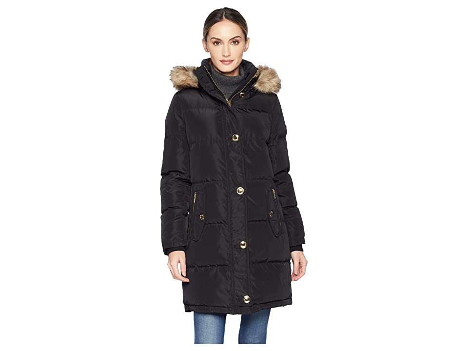 MICHAEL Michael Kors Button Front Down Coat with Faux Fur Trim Hood M823896G (Black) Women