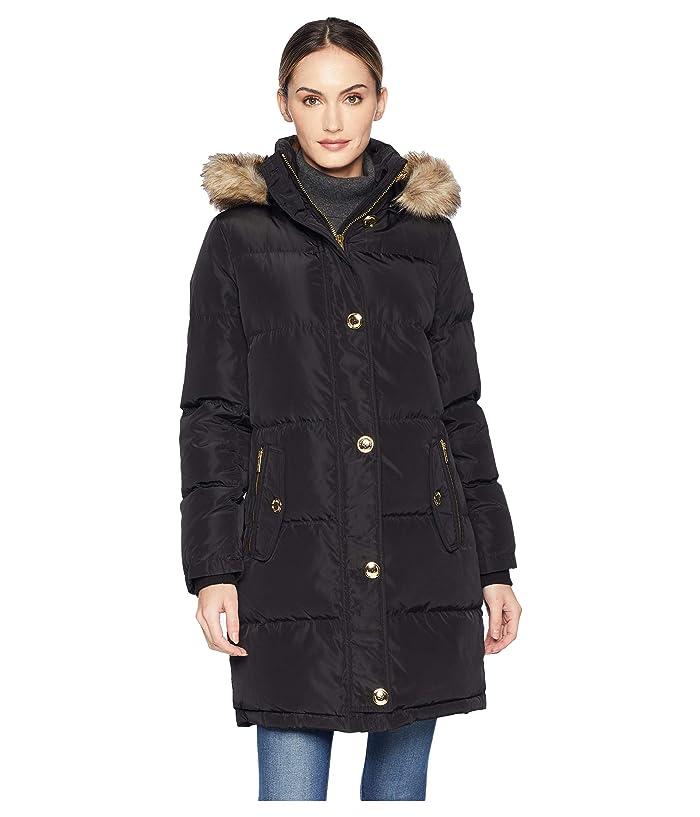 MICHAEL Michael Kors Button Front Down Coat with Faux Fur Trim Hood M823896G (Black) Women