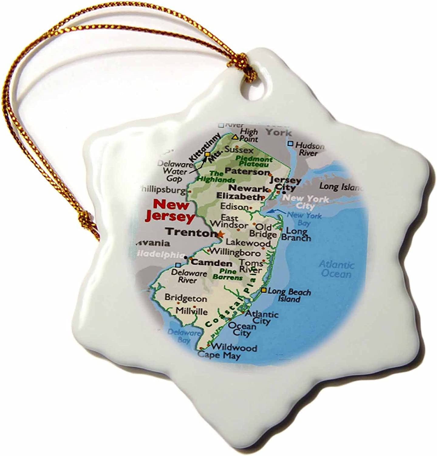 3dRose orn_39034_1 Framed Manufacturer direct delivery Map of Jersey Snowflake Decorative latest New