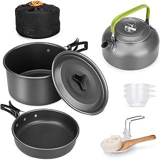 キャンプクッカー クッカーセット アルミクッカー アウトドア調理器具セット 登山用鍋 2-3人に適応 BBQ食器 ポータブル キャンピング鍋 収納袋付き