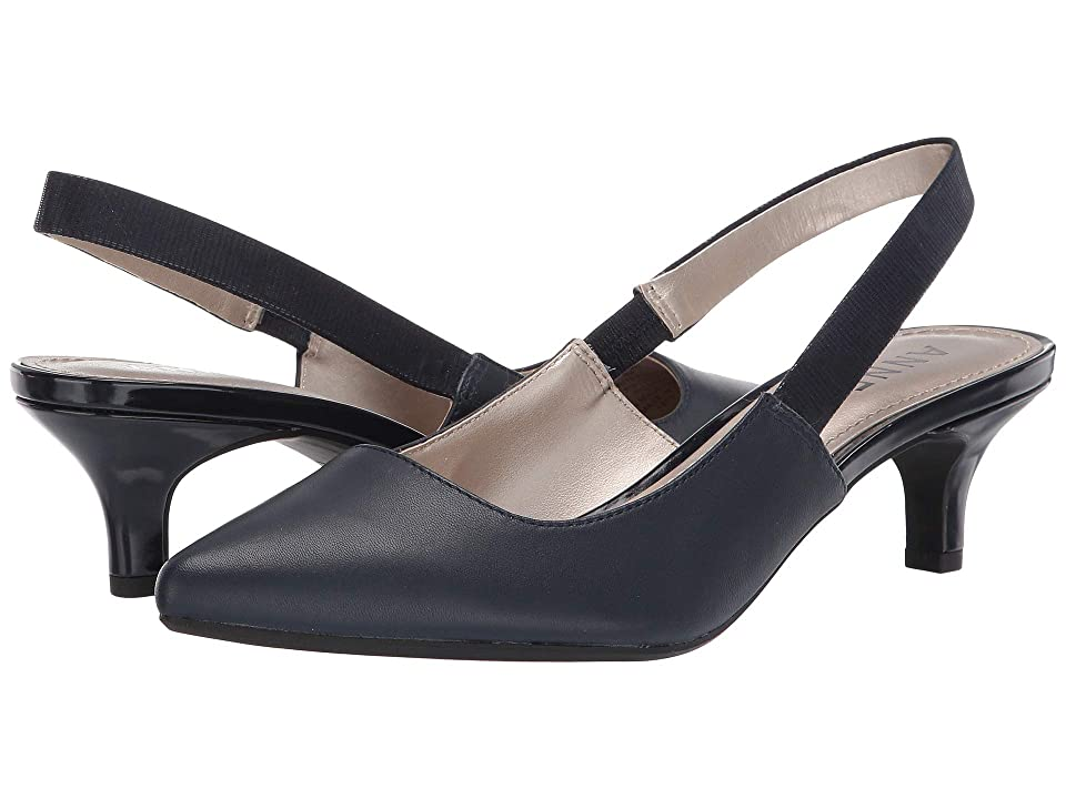 Anne Klein Aileen Slingback Heel (Navy Leather) Women