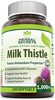 Herbal Secrets Milk Thistle 1000 Mg - 120 Softgels(Non-GMO) - Standardize to 80% Silymarin, Support Liver Health, Healthy Heart Rate & Brain Function*