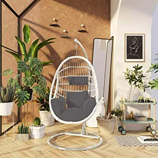 Hanging Swing Seat Chair Egg-Shaped Durable Olefin Fabric Woven Basket Chair, Max 150 Kg (White)