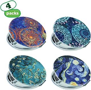 QIELIZI PU Metal Compact Mirror (Set of 4),Pocket-size Travel Beauty Makeup Mirror 2-sided with 3X Magnifying Mirror and 1X Mirror, Best Gifts - Perfect for Purses,Pack of 4(Van Gogh Flower)