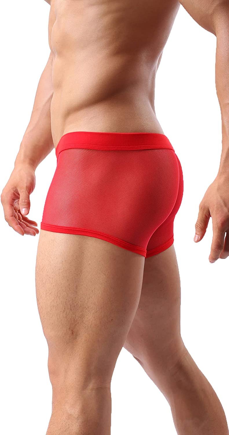 Mens Sexy Underwear Breathable Mesh Boxer Briefs See Through Hollow Lingerie