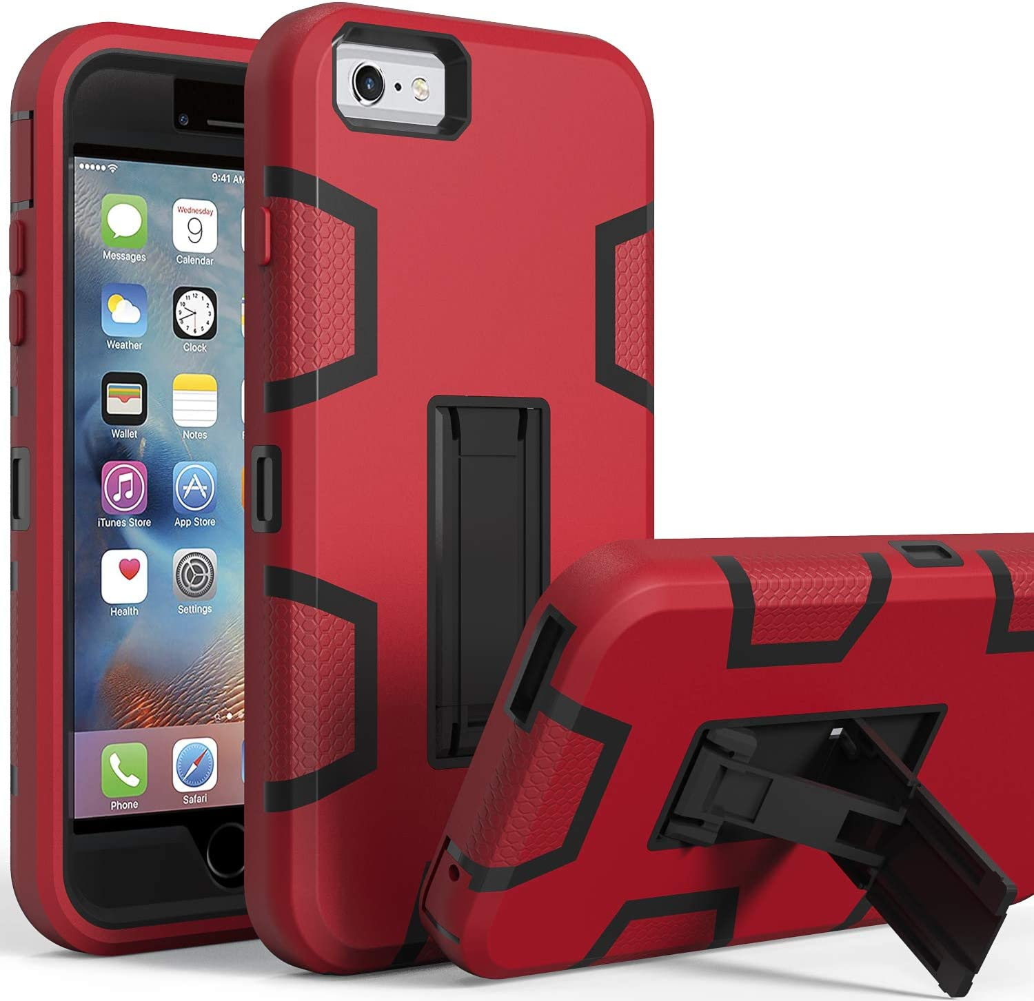 iPhone 6s Plus Case,iPhone 6 Plus Case,Kickstand Case for iPhone 6s Plus, Anti-Scratch Anti-Fingerprint Heavy Duty Protection Shockproof Rugged Cover for 5.5inch iPhone 6s Plus-Red
