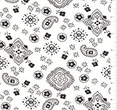 "White/Black 60"" Bandana Fabric 15 Yards Wholesale by The Bolt"