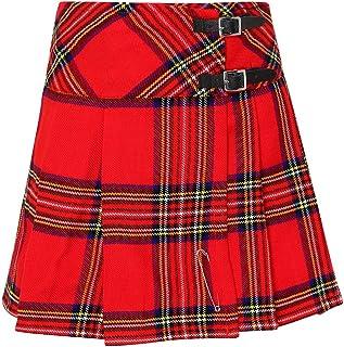 Islander Fashions Girls Box per Bambini Pieghevoli Gonna Scozzese Bambini Fancy Party Wear Ginocchio Gonna Alta 5-12 Anni
