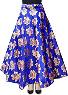 DB ENBLOC Women's Now Umbrella Cut Skirt for Party/Festival Function Light Blue