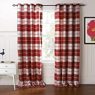 IYUEGO Country Retro Red Plaid Eco-Friendly Jacquard Grommet Top Curtains Draperies with Multi Size Custom 30