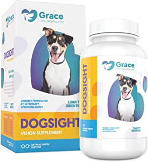 Dog Eye and Vision Supplement - Omega 3 Fish Oil, Grape Seed and Pine Bark Extract, Lutein and Vitamin Formula to Support Sight - for Medium and Large Dogs - 120 Capsules - DogSight by Grace