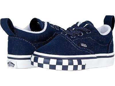 Vans Kids Era Elastic Lace (Infant/Toddler) ((Check Bumper) Dress Blue/True White) Boys Shoes