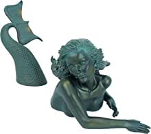 Design Toscano DB383047 Meara the Mermaid Swimmer Outdoor Garden Statue, 16 Inch, Green Verdigris