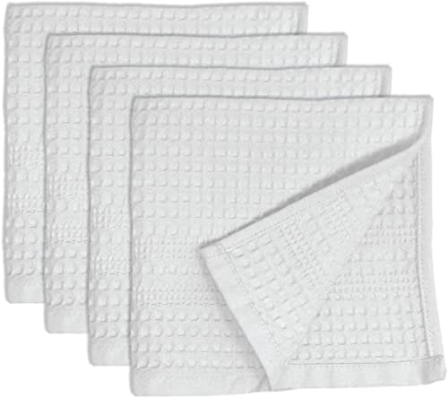 popular Premium 4 Pc Waffle Weave Washcloth Set 100% Natural online sale Cotton Quick Dry Soft Luxurious Highly Absorbent Fabric Small Face Towel No outlet online sale Lint Fade Resistant Color (White) sale