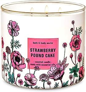 Bath & Body Works White Barn Strawberry Pound Cake 3 Wick Scented Candle 14.5 oz.