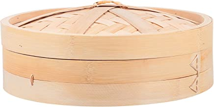 TOPBATHY 1 Set Natural Bamboo Steamer Basket Bamboo Steamer Rack with Lid for Cooking Vegetables Chicken Rice 30cm