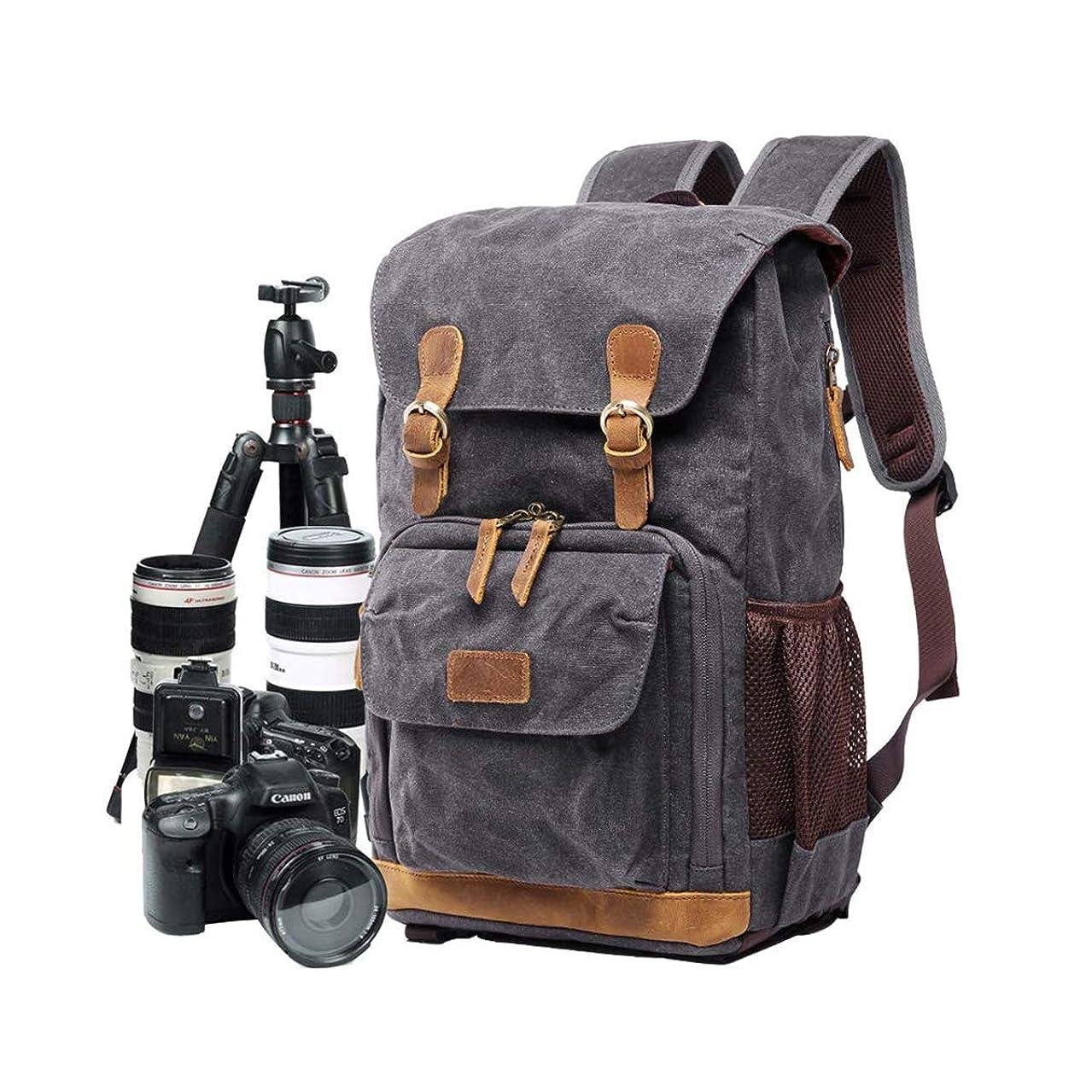 AHWZ Camera Bag, Canvas SLR DSLR Camera Backpack Large Capacity Front Open Waterproof Anti-Shock Camera Rucksack Camera Travel Bag Professional Camera Lens Organizer