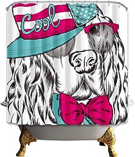 GAOFENFFR Lindo Perro de Dibujo Negro con un Sombrero en el Fondo Blanco Sin Productos químicos contra el Moho Cortina de Ducha antibacteriana
