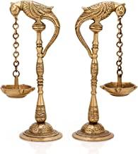Collectible India Brass Pair of Bird Diya Oil Lamp Stand Holder, 6.5inch height x 3inch wide x 2inch depth(Turquoise)