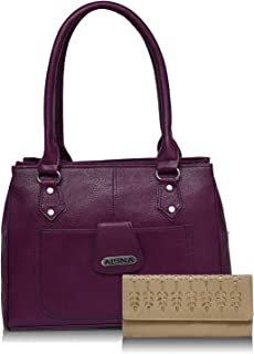 Aisna Women Handbag with clutch Combo(ASN-135-ASC-036, Purple,Beige)