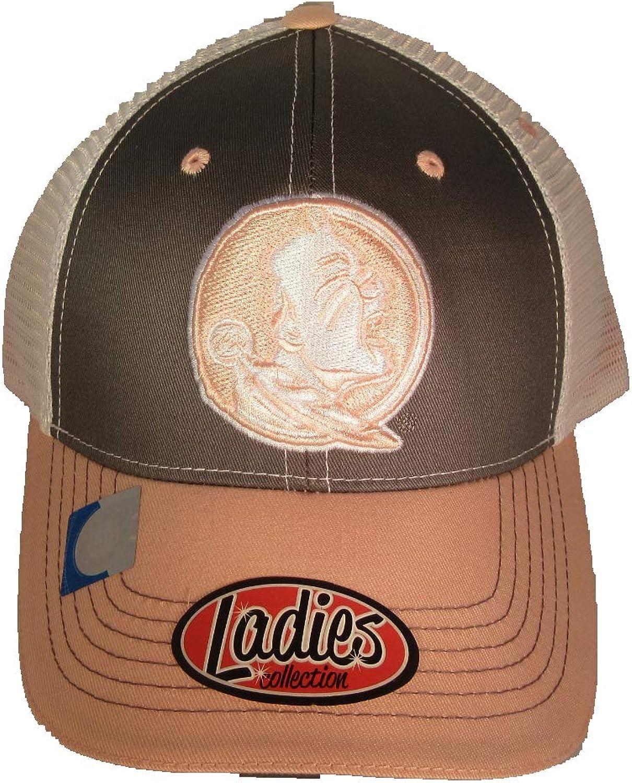 Collegiate Headwear FSU Florida State Seminoles Ladies Baseball Cap with Mesh Back. Pink