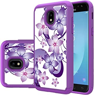 Samsung Galaxy J3 2018 Case,J3 Achieve,J3 Express Prime 3,Amp Prime 3,J3 Emerge 2018,J3 Orbit Case, Yiakeng Dual Layer Slim Drop Protection Phone Cases (Purpel Flower)