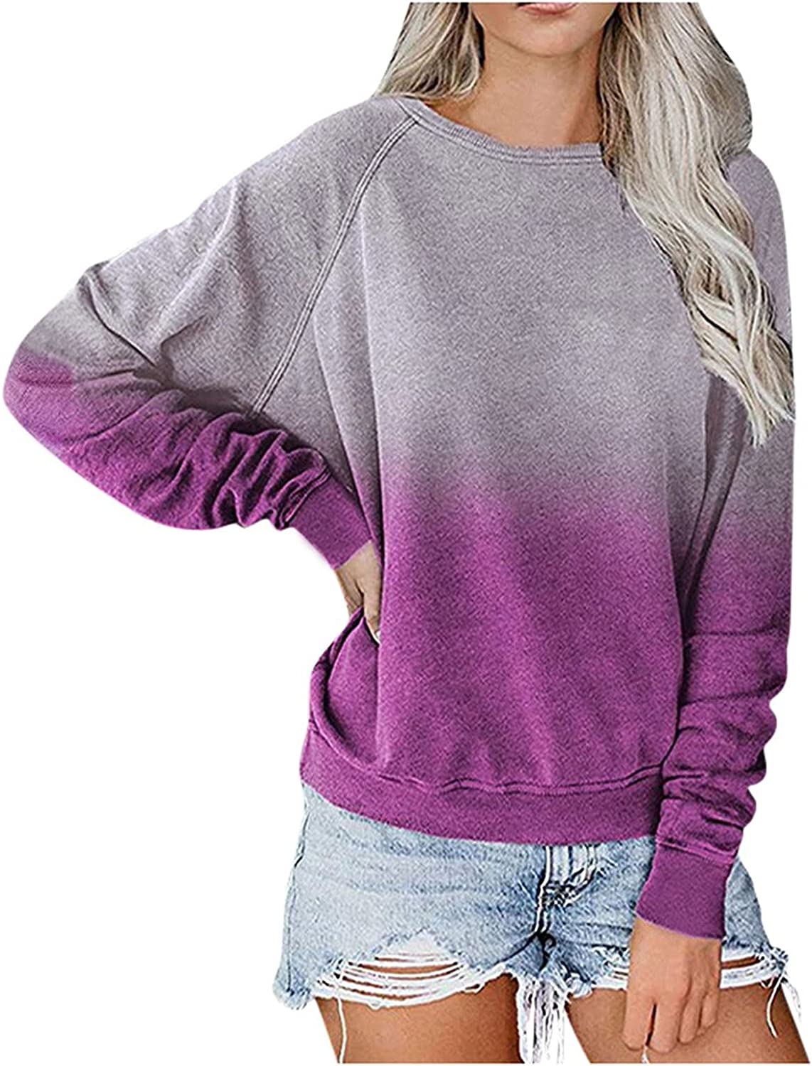 felwors Pullover Tops for Women, Womens Casual Loose Gradient Printed Crewneck Long Sleeve Pullover Sweatshirt Tops