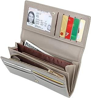 Women's Long Bifold Credit Card Holder Zipper Pocket Clutch Wallet Purse, Grey