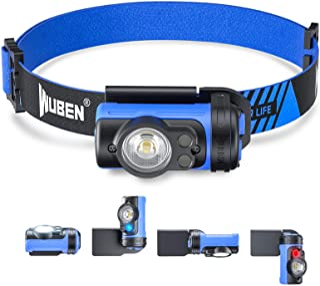 WUBEN H3 ヘッドライト LEDヘッドランプ 【実用点灯105時間】 赤&青ライト 7つモード 360度自由回転 IP65防水 超軽量 アウトドア用ヘッドライト AAA電池仕様 防災対策 登山 キャンプ 夜釣り 作業用 (青)