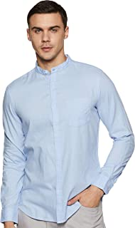 Amazon Brand - Symbol Men's Solid Regular Fit Full Sleeve Cotton Casual Shirt